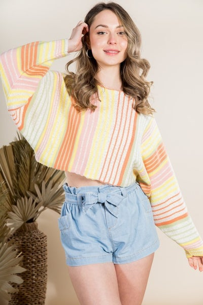 On Stripe Cropped Sweater Top