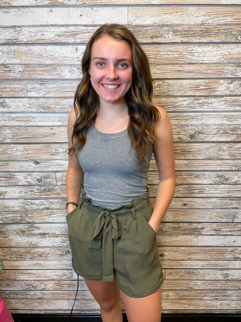 Cuffed Paperbag Shorts