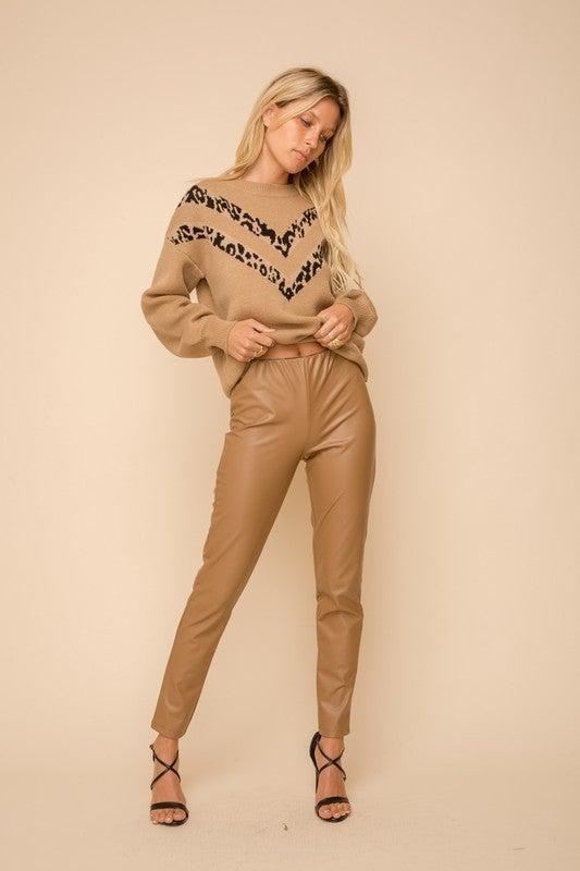 Fleece Faux Leather Leggings