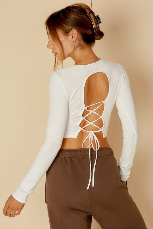 Back At It Lace Up Top *Final Sale*