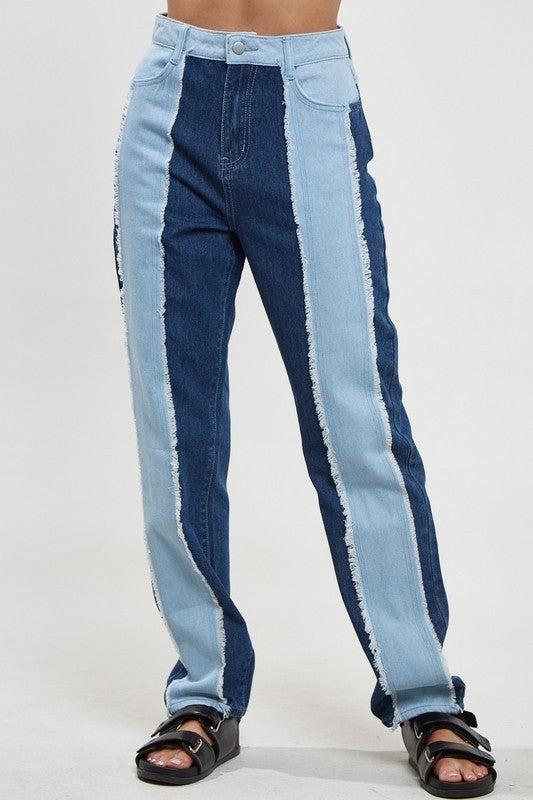 Color Block Denim Pants