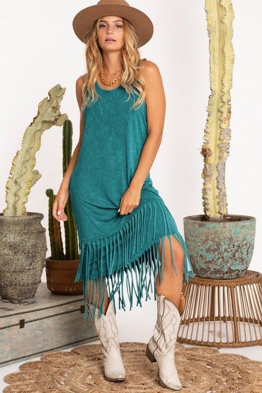 Mineral Dyed Fringe Dress