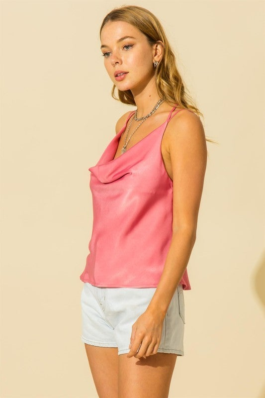 Two Strap Cowl Neck Cami Top