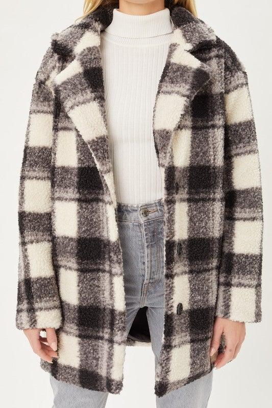 Pretty in Plaid Teddy Coat