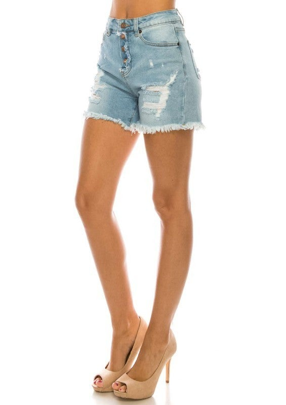 Light Indigo Denim Shorts
