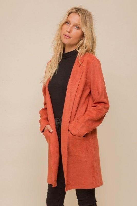 Show Me Suede Longline Coat