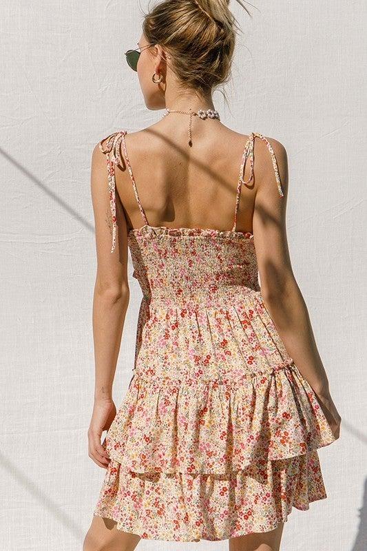 Ditsy Print Tier Ruffle Dress