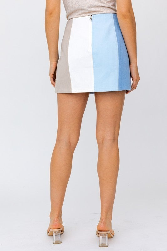 Color Block Mini Skirt