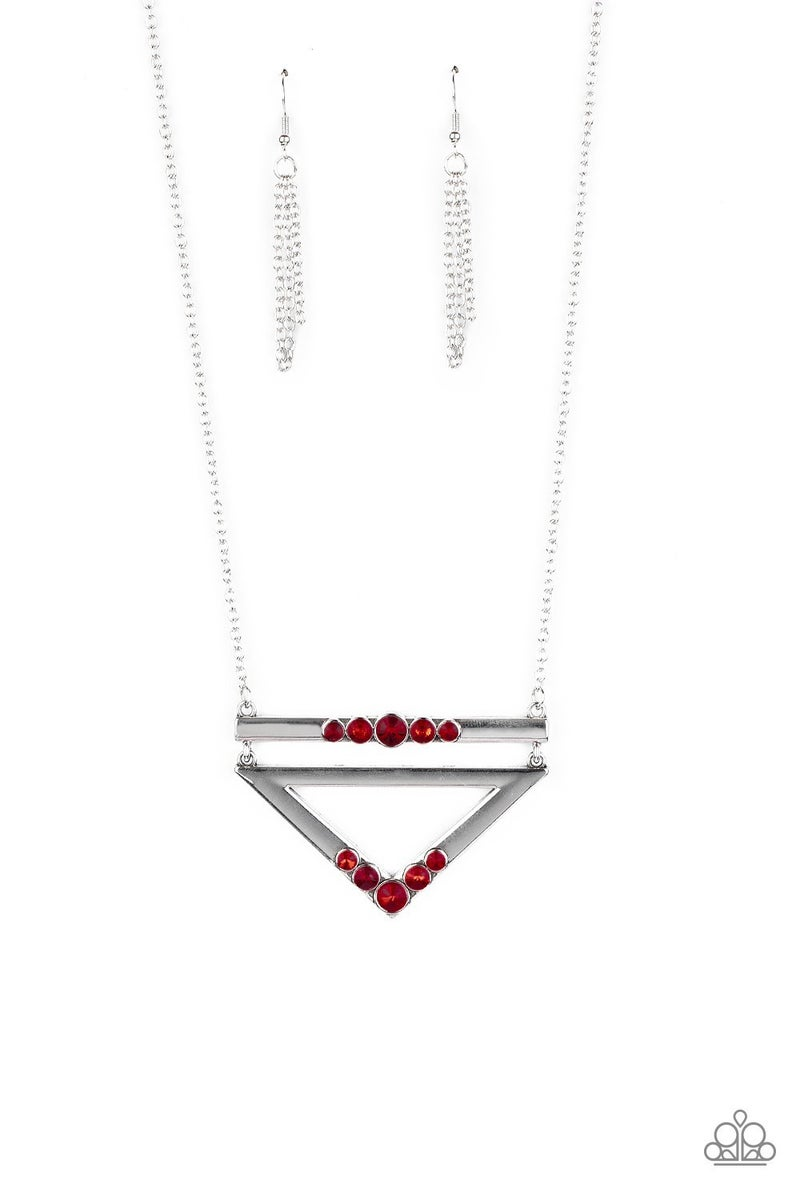 Triangulated Twinkle - Red Necklace set