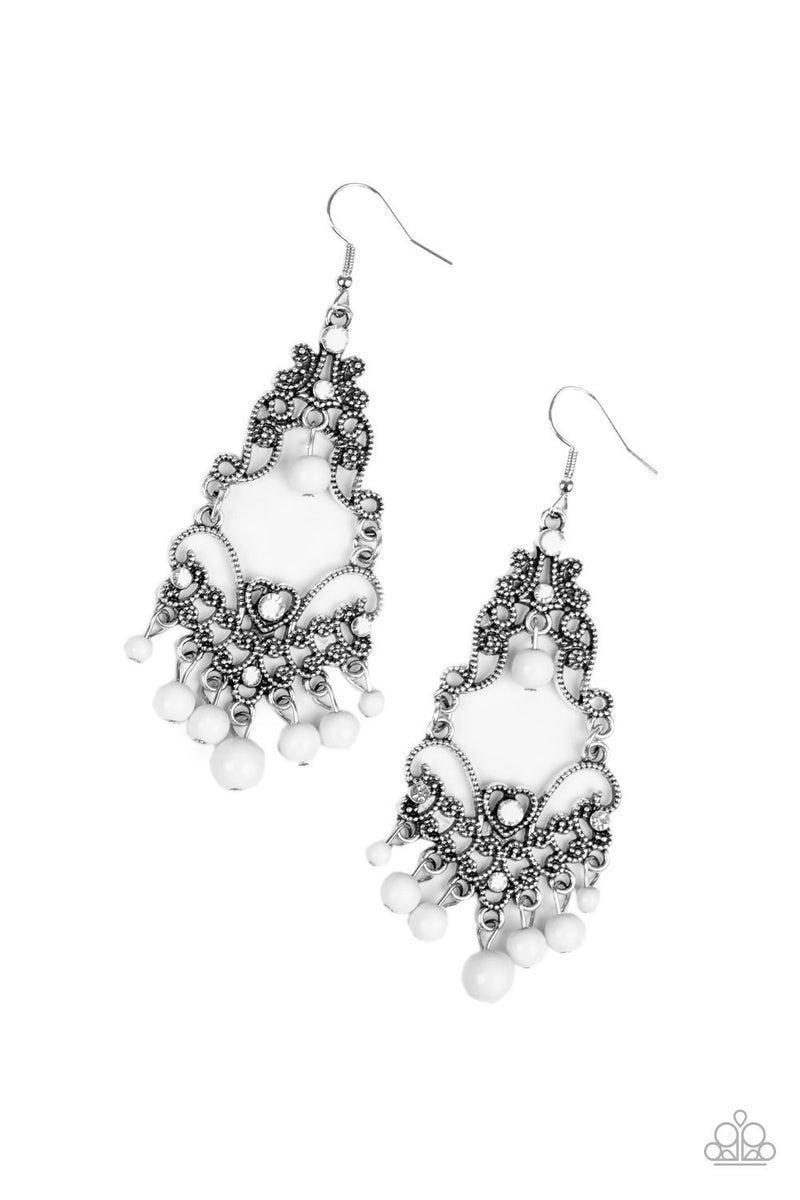 Colorfully Cabaret - White Earring