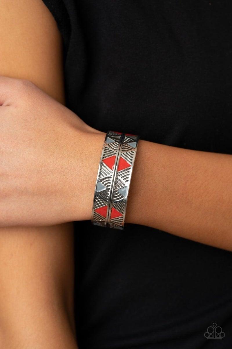 Hidden Glyphs - Red Bracelet