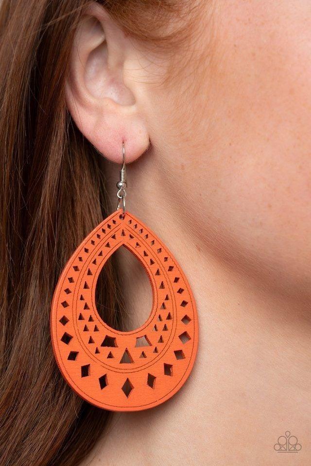 Paparazzi Earring ~ Belize Beauty - Orange