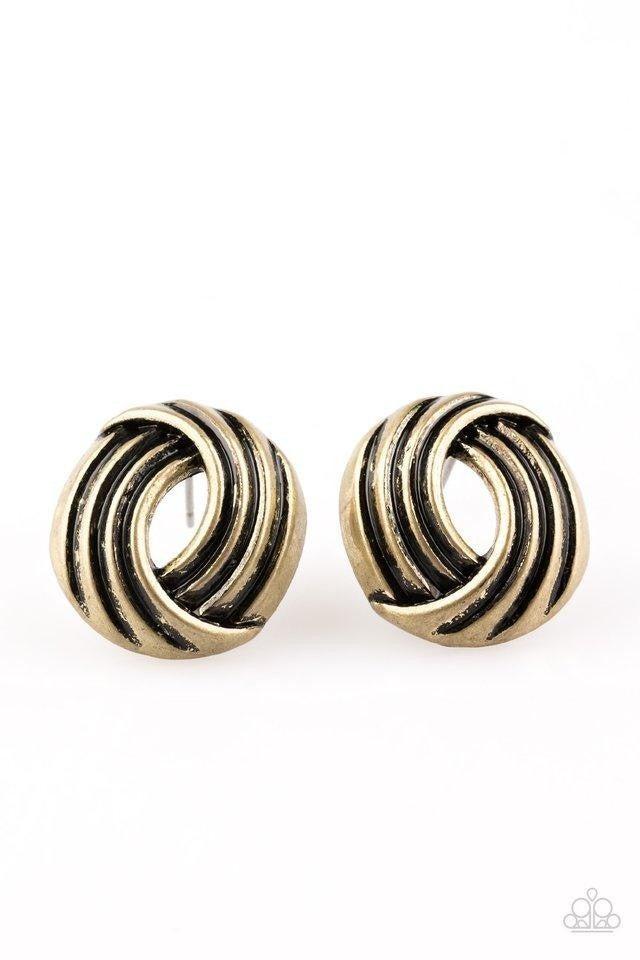 Paparazzi ♥ Rare Refinement - Brass ♥ Post Earrings