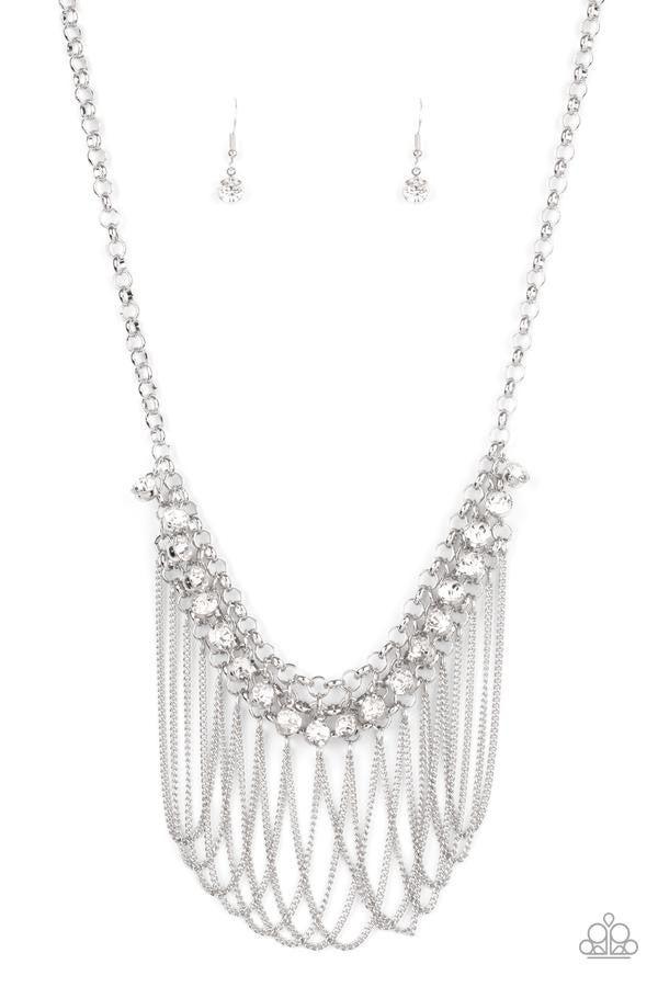 Flaunt Your Fringe - White Necklace