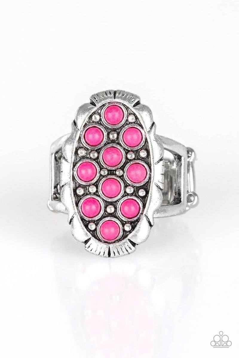 Cactus Garden- Pink and Silver Ring-