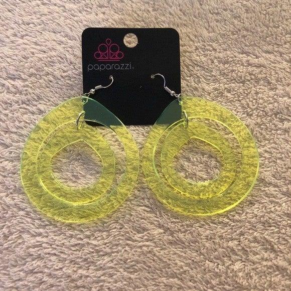 Paparazzi Earrings ~ Show Your True NEONS - Yellow