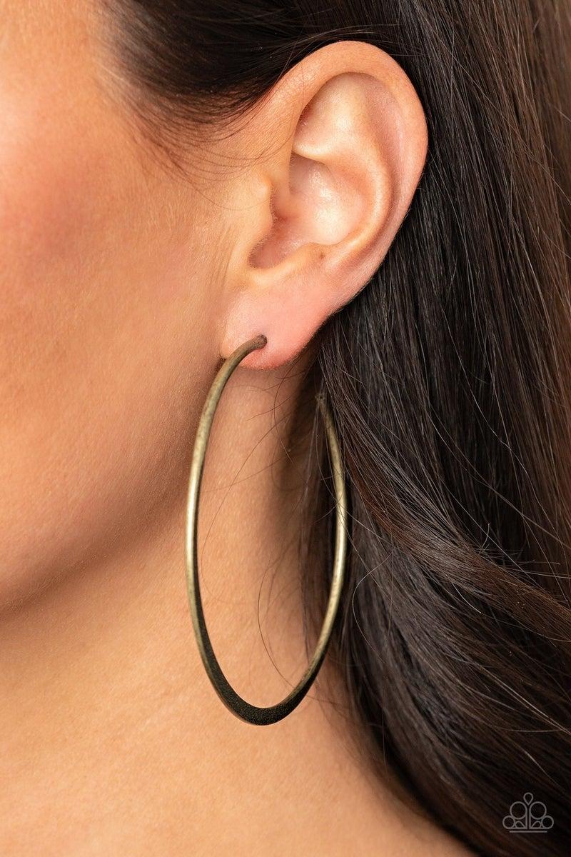 Flat Spin - Brass Earring