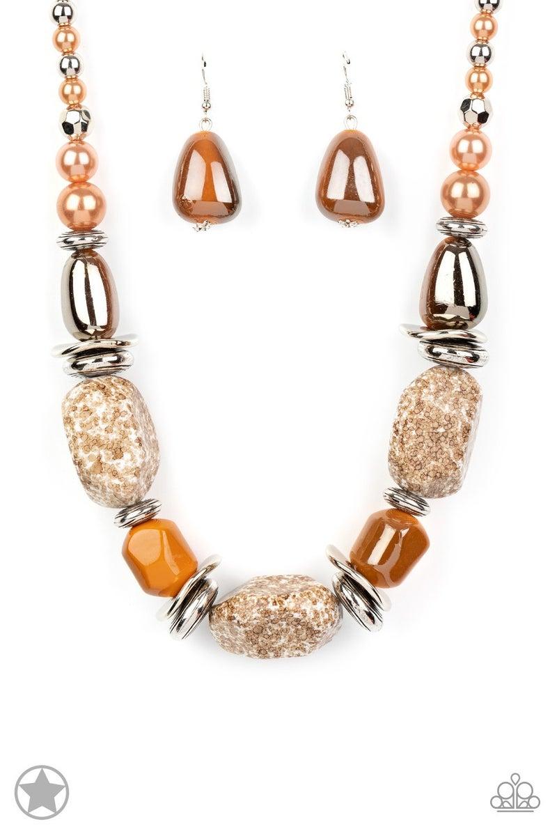 In Good Glazes-Peach Brown Necklace