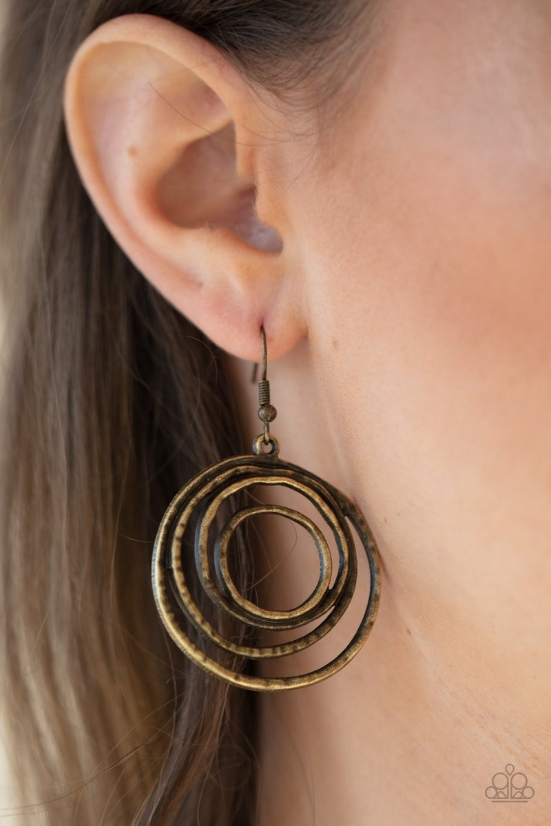 Spiraling Out of Control - brass - Paparazzi earrings