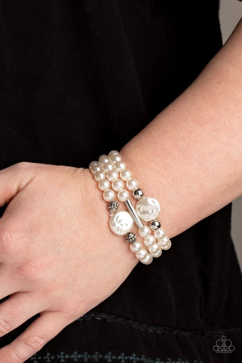 Exquisitely Elegant - White Bracelet