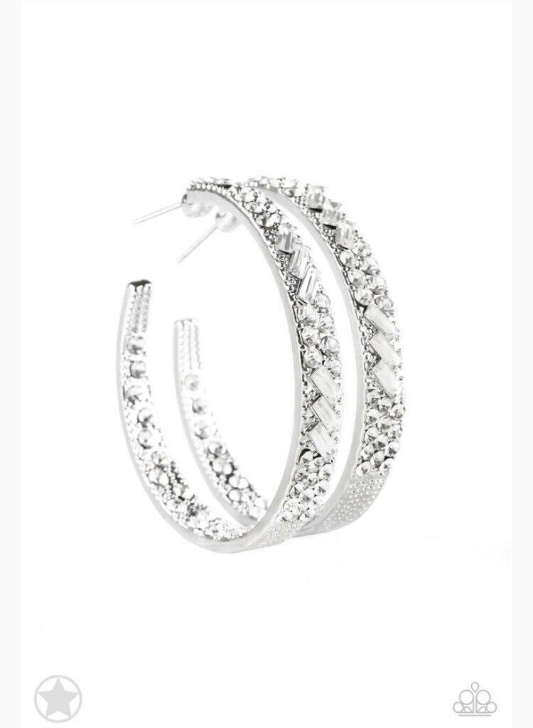 GLITZY By Association Silver & White Crystal Hoop Earrings