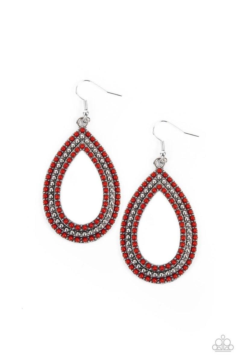 Tear Tracks - Red Earring