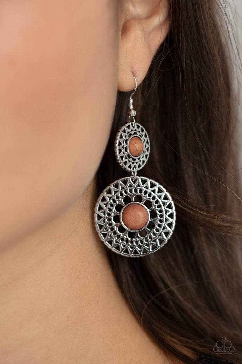 Paparazzi Sunny Sahara - Brown Stone - Earrings