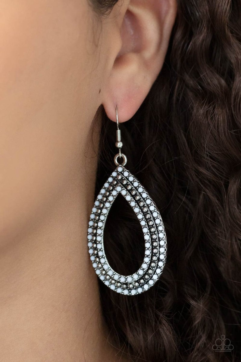 Tear Tracks - white - Paparazzi earrings