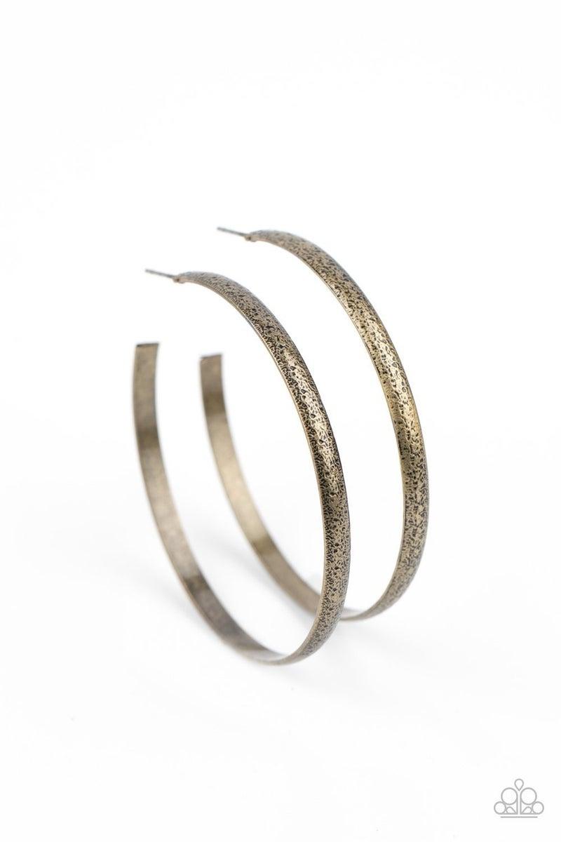 Rustic Radius Brass Hoop Earring