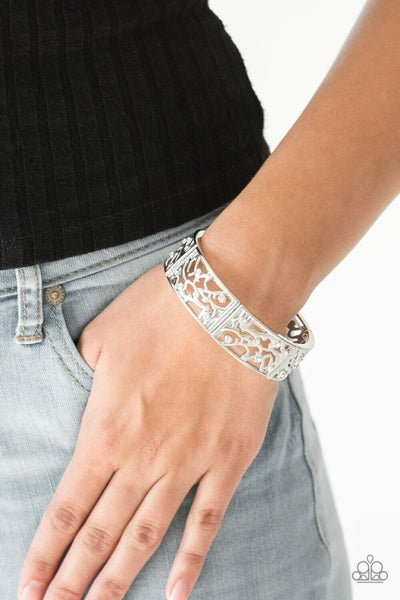 Yours and VINE - White - Shimmery Silver Stretchy  Bracelet