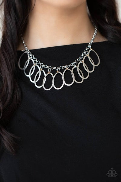 Double OVAL-time - Brown Necklace