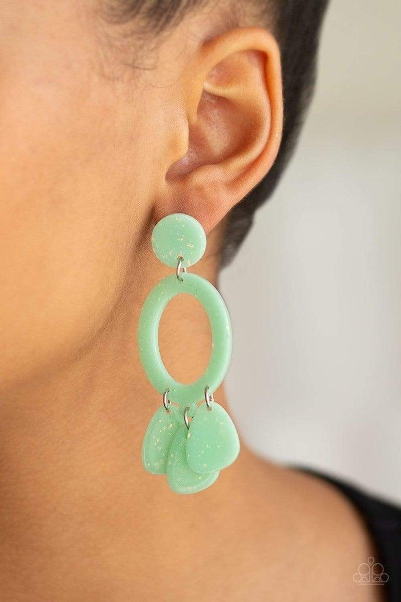 Paparazzi Earring ~ Sparkling Shores - Green