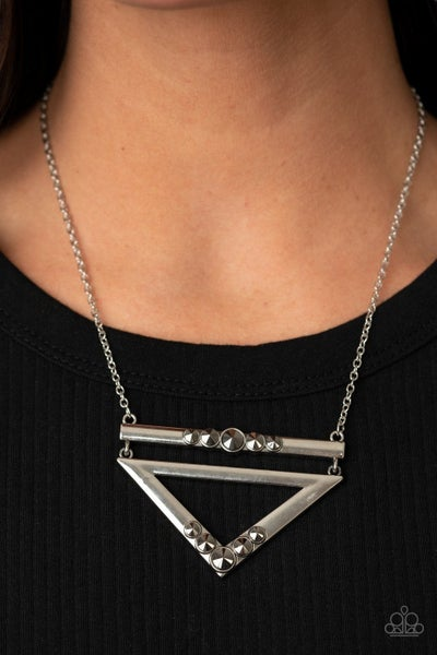 Triangulated Twinkle - Silver Necklace