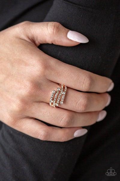 Paparazzi Ring ~ Casino CACHE - Rose Gold