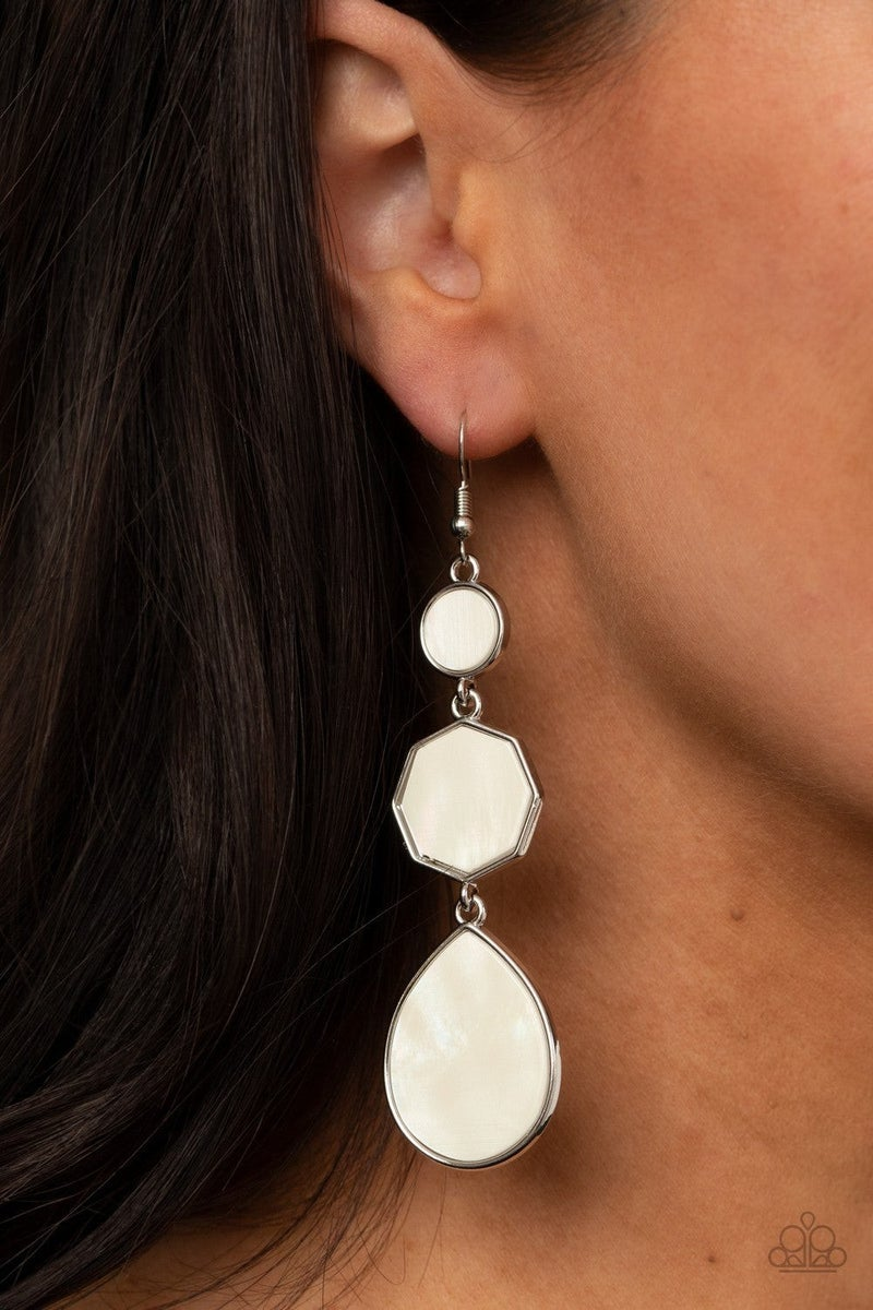 Progressively Posh - White Earring