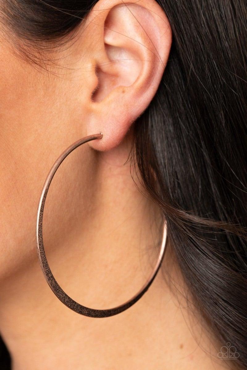 Flat Spin - Copper Earring