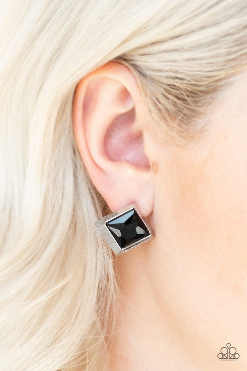 Stellar Square Black Post Earring