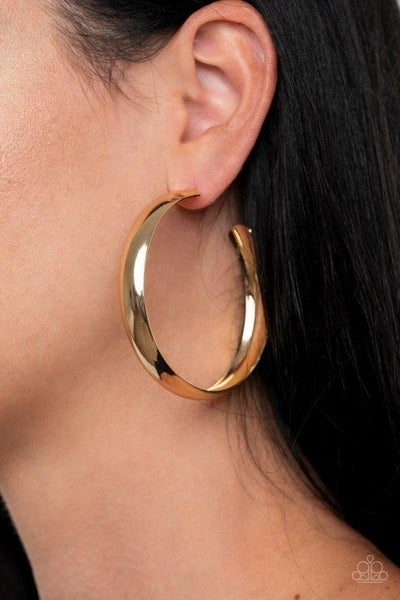 Kick Em To The CURVE - Gold Earring