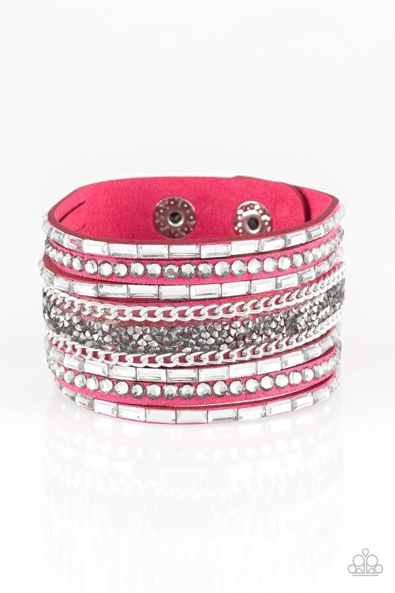 Rhinestone Rumble - Pink Bracelet