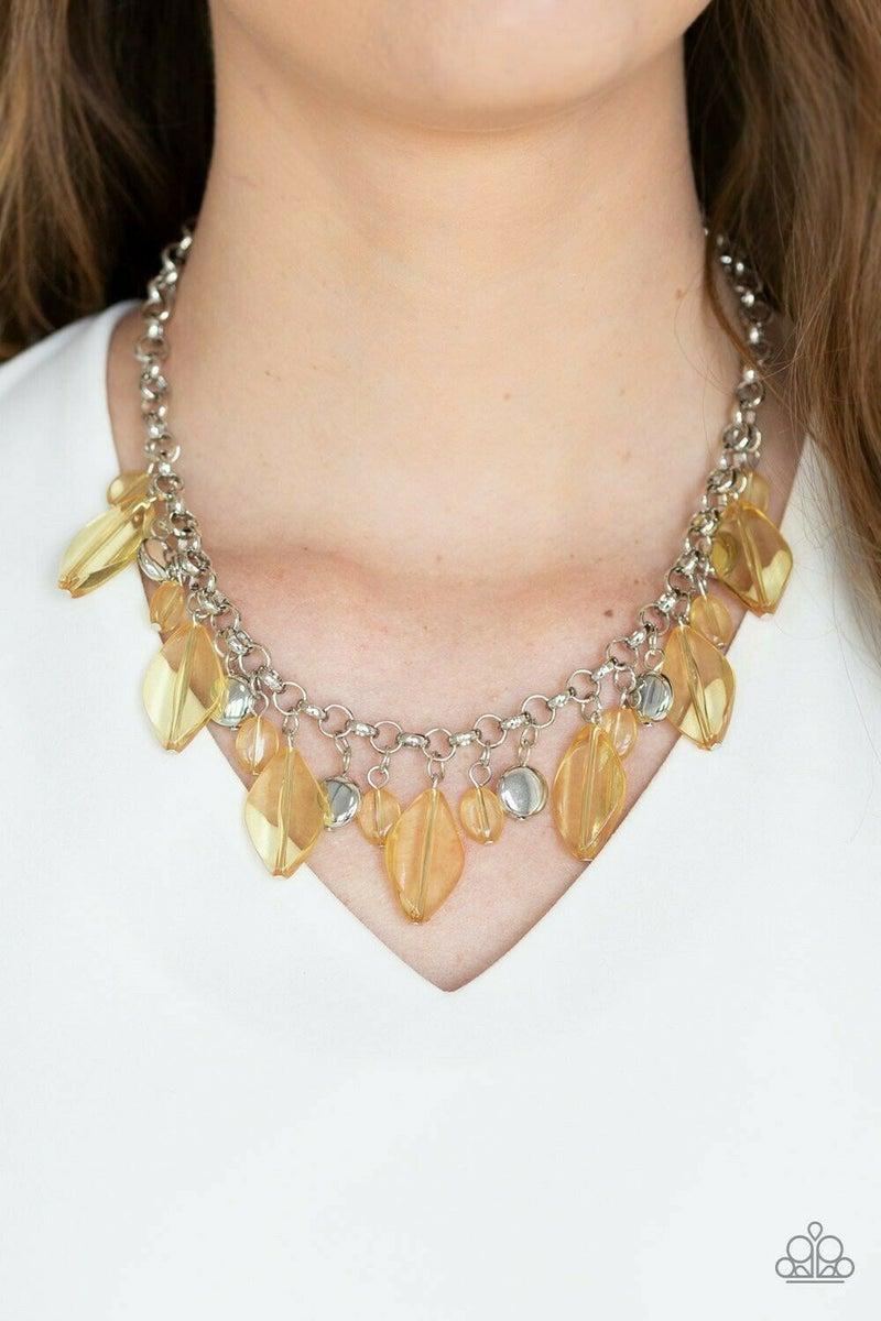 "Paparazzi Jewelry ""Malibu Ice"" Yellow Necklace and erring"