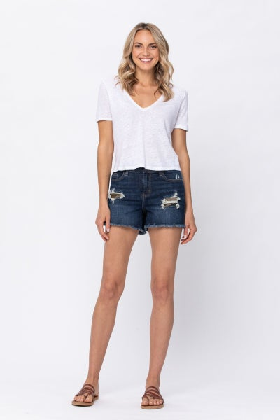 Judy Blue Mid-Rise Camo Patch Shorts