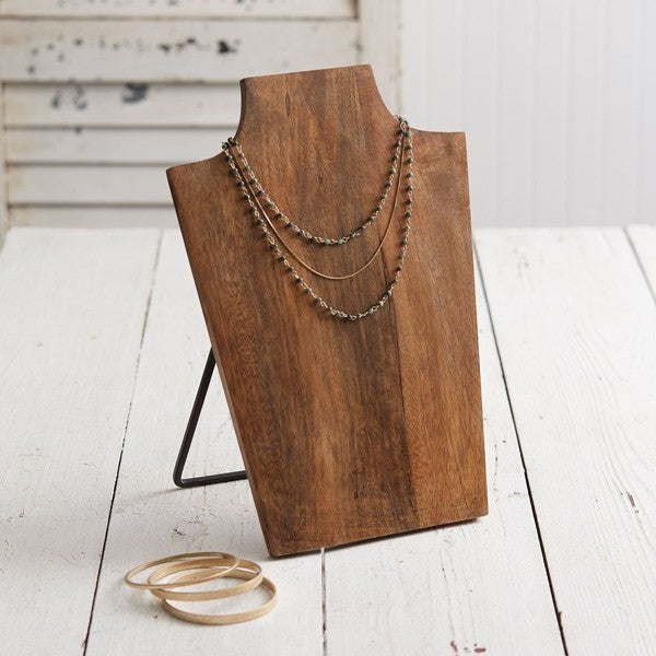 Wood Bust Necklace Display
