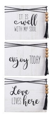 WOOD BOX WALL/TABLETOP SIGN WITH ROPE/BEAD ACCENT (3 ASSORTED)