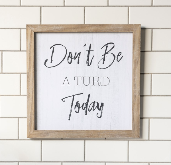 Don't Be A Turd...Toilet Humor Sign