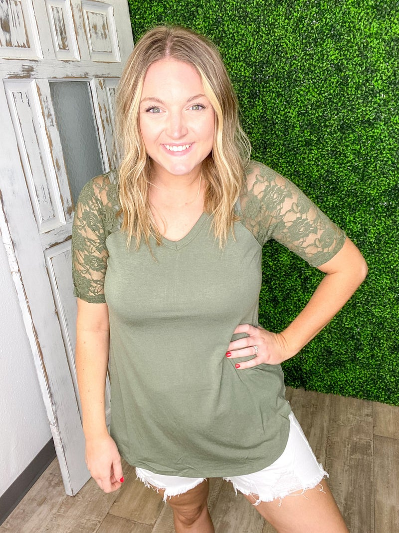 Lacey Short Sleeve V-NECK & ROUND HEM TOP (Variety Colors)