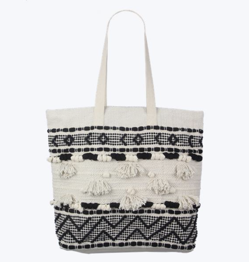 100% COTTON CROCHETED LARGE TOTE WITH TASSEL DESIGN