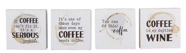 WOOD MINI BLOCK TABLETOP COFFEE STAIN SIGN (4 ASSORTED)