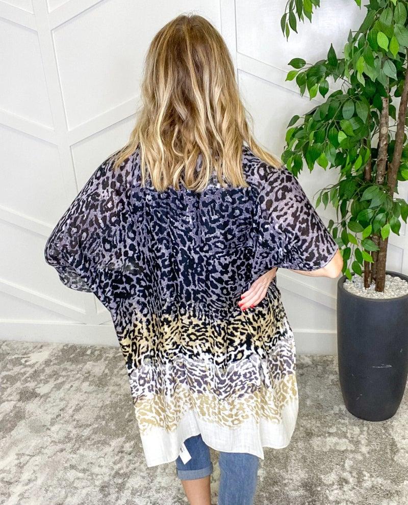 Leopard Ombre Print Kimono