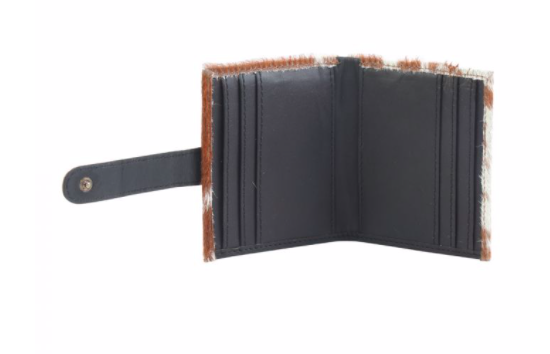 CAT-PATCH HOLDER LEATHER AND HAIRON WALLET