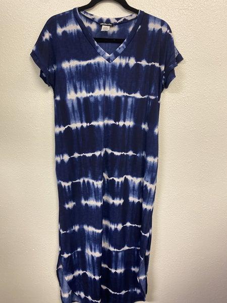 Wavy Navy Maxi Dress